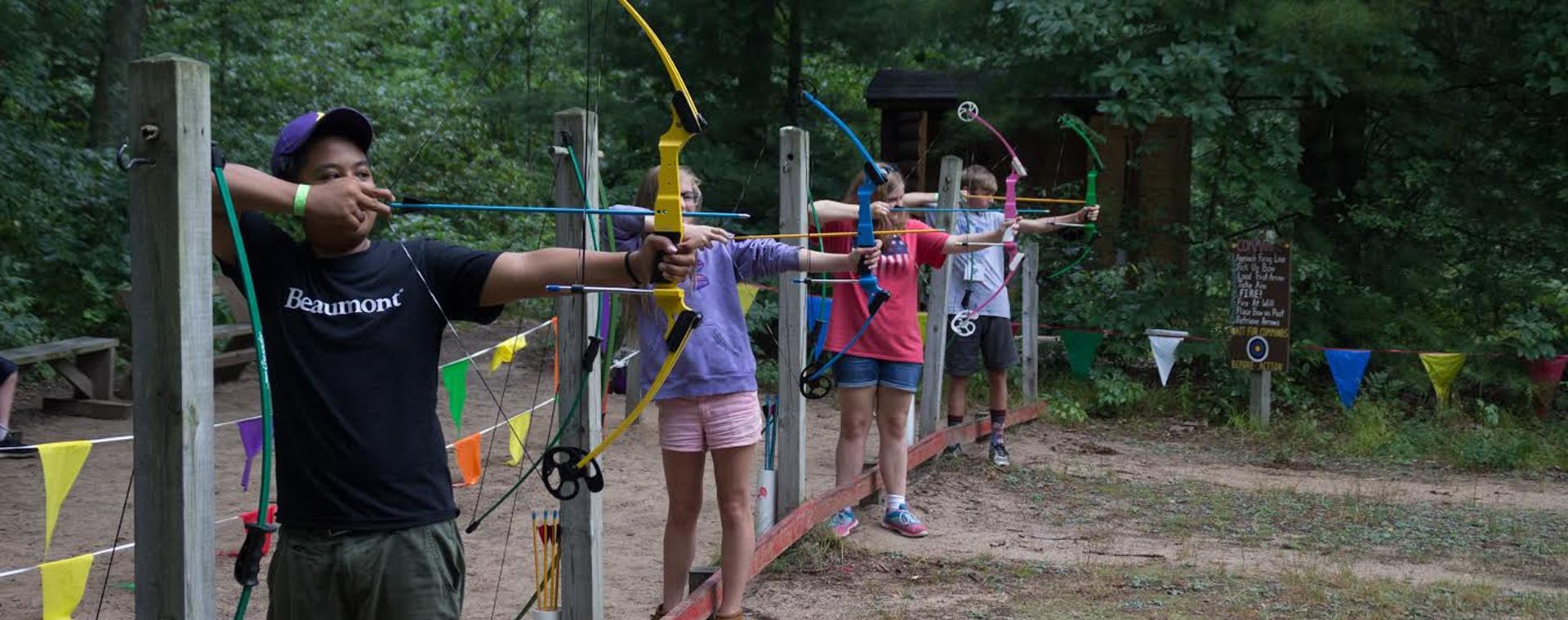 Kids at archery practice